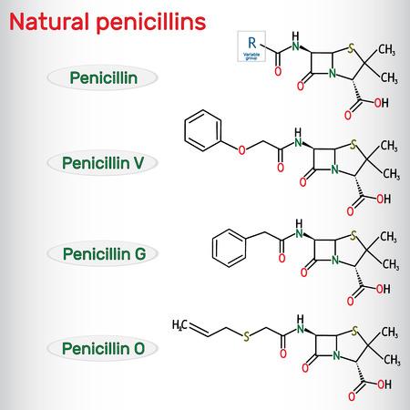 Natural penicillins antibiotic drug molecule. Benzylpenicillin , phenoxymethylpenicillin, almecillin. Structural chemical formula. Vector illustration Illustration