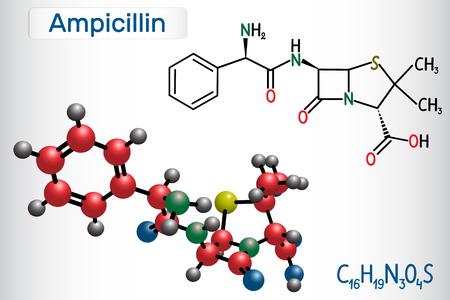 Ampicillin drug molecule. It is beta-lactam antibiotic. Structural chemical formula and molecule model. Vector illustration