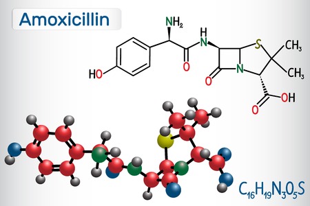 Amoxicillin drug molecule. It is beta-lactam antibiotic. Structural chemical formula and molecule model. Vector illustration Stock Vector - 124098182
