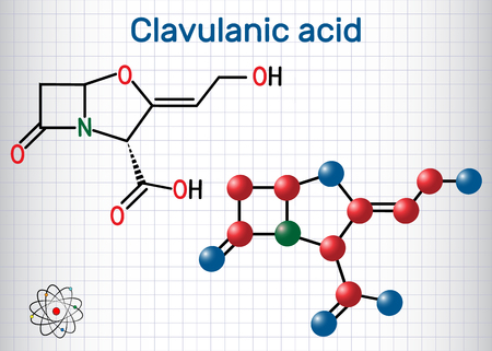 Clavulanic acid β-lactam drug molecule. Structural chemical formula and molecule model. Sheet of paper in a cage. Vector illustration Stock Illustratie