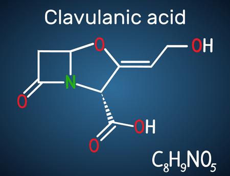 Clavulanic acid β-lactam drug molecule. Structural chemical formula on the dark blue background. Vector illustration