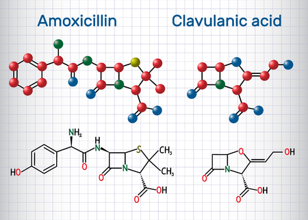 Amoxicillin and clavulanic acid drug molecule. Combination is an antibiotic useful for the treatment of bacterial infections. Sheet of paper in a cage. Structural chemical formula and molecule model. Vector illustration
