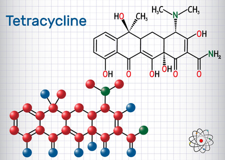 Tetracycline antibiotic drug molecule. Structural chemical formula and molecule model. Sheet of paper in a cage. Vector illustration