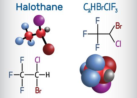 Halothane general anesthetic drug molecule. Structural chemical formula and molecule model. Vector illustration