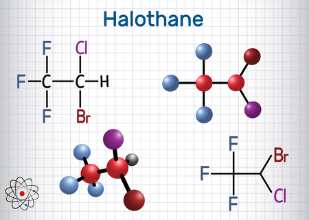 Halothane general anesthetic drug molecule. Structural chemical formula and molecule model. Sheet of paper in a cage. Vector illustration