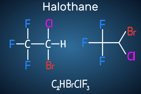 Halothane general anesthetic drug molecule. Structural chemical formula on the dark blue background. Sheet of paper in a cage. Vector illustration