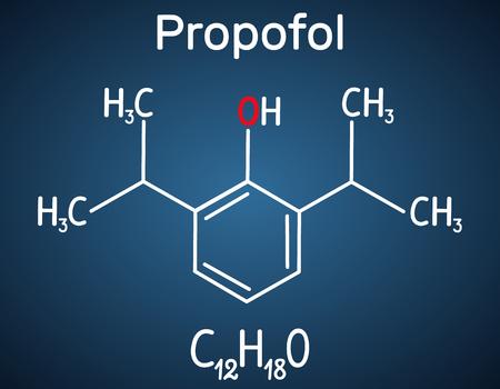 Halothane short-acting anesthetic drug molecule. Structural chemical formula on the dark blue background. Vector illustration