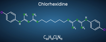 Chlorhexidine (chlorhexidine gluconate, CHG) antiseptic molecule. Structural chemical formula on the dark blue background. Vector illustration