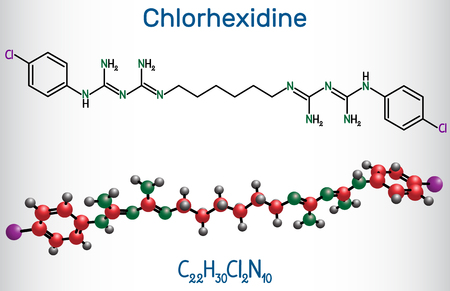Chlorhexidine (chlorhexidine gluconate, CHG) antiseptic molecule. Structural chemical formula and molecule model. Vector illustration