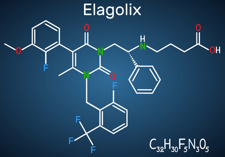 Elagolix drug molecule. It is gonadotropin-releasing hormone antagonists. Structural chemical formula on the dark blue background. Vector illustration