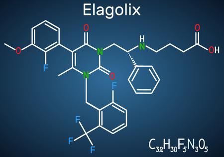 Molécule de médicament Elagolix. Ce sont des antagonistes de l'hormone de libération des gonadotrophines. Formule chimique structurelle sur le fond bleu foncé. Illustration vectorielle