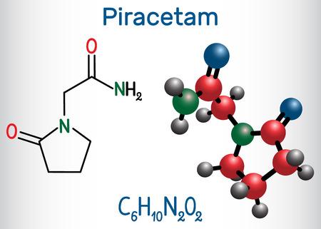 Piracetam molecule. It is nootropic drug.  Structural chemical formula and molecule model. Vector illustration Illustration