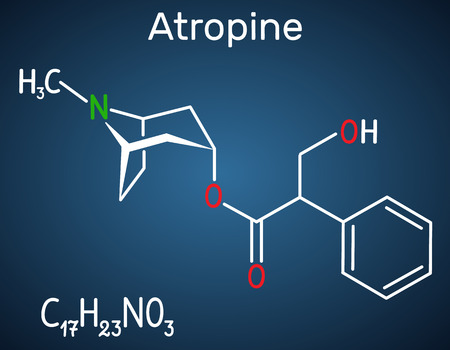 Atropine drug molecule. It is plant alkaloid. Structural chemical formula on the dark blue background. Vector illustration