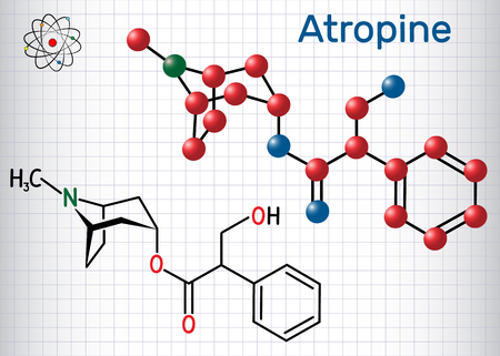 Atropine drug molecule. It is plant alkaloid. Sheet of paper in a cage. Structural chemical formula and molecule model. Vector illustration