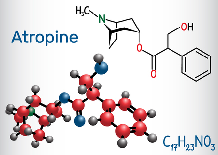 Atropine drug molecule. It is plant alkaloid. Structural chemical formula and molecule model. Vector illustration