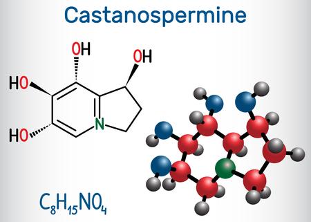 Castanospermine indolizidine alkaloid molecule. Structural chemical formula and molecule model. Vector illustration