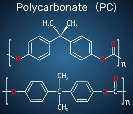 Polycarbonate (PC) thermoplastic polymer molecule. Structural chemical formula on the dark blue background. Vector illustration Stock Vector - 124098211
