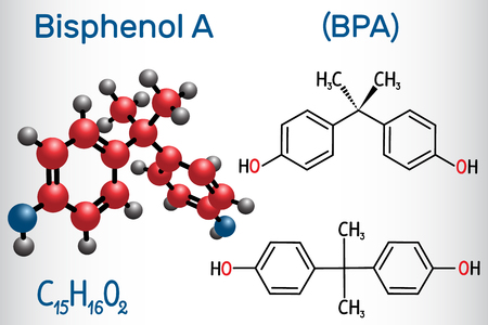 Bisphenol A (BPA) molecule. Structural chemical formula and molecule model. Vector illustration