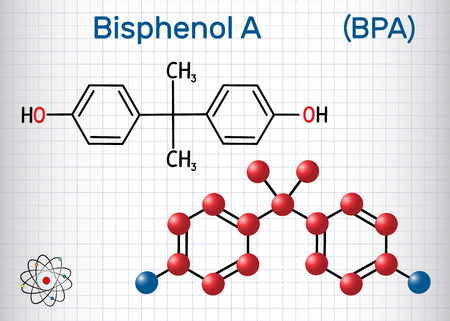 Bisphenol A (BPA) molecule. Sheet of paper in a cage. Structural chemical formula and molecule model. Vector illustration
