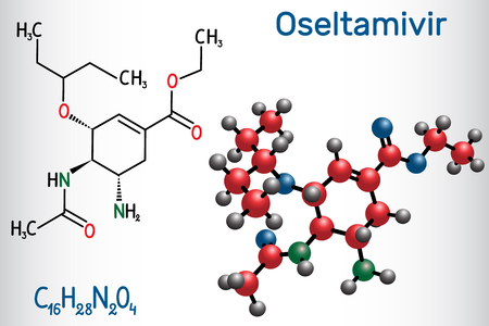Oseltamivir antiviral drug molecule. Structural chemical formula and molecule model. Vector illustration