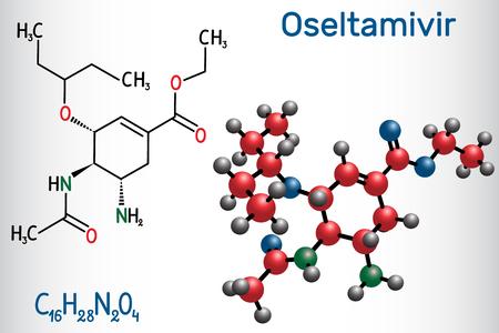 Oseltamivir antiviral drug molecule. Structural chemical formula and molecule model. Vector illustration
