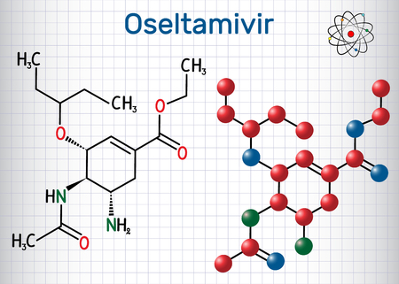 Oseltamivir antiviral drug molecule. Sheet of paper in a cage. Structural chemical formula and molecule model. Vector illustration