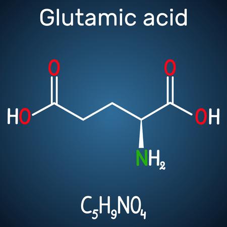 Glutamic acid (L- glutamic acid, Glu, E) aliphatic amino acid molecule.  Structural chemical formula on the dark blue background. Vector illustration Illustration