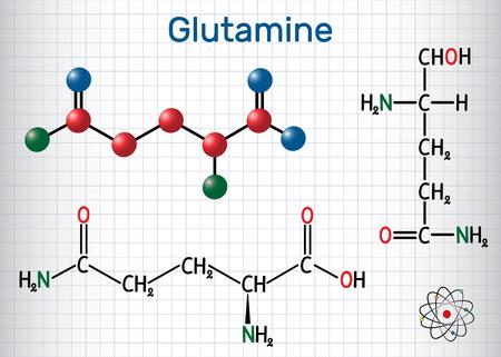 Glutamine (Gln , Q) amino acid molecule.  Structural chemical formula and molecule model. Sheet of paper in a cage.Vector illustration Ilustração