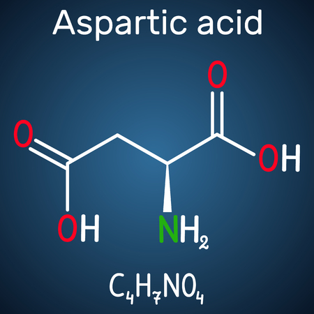 Aspartic acid (L- aspartic acid, Asp, D, aspartate) proteinogenic amino acid molecule.  Structural chemical formula on the dark blue background. Vector illustration