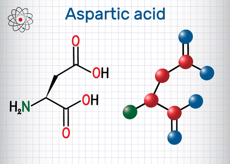 Aspartic acid (L- aspartic acid, Asp, D, aspartate) proteinogenic amino acid molecule.  Sheet of paper in a cage. Structural chemical formula and molecule model. Vector illustration