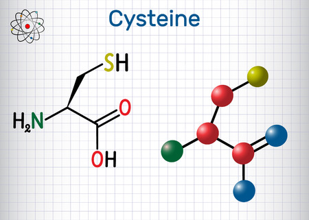 Cysteine  (L-cysteine, Cys, C) proteinogenic amino acid molecule.  Sheet of paper in a cage.