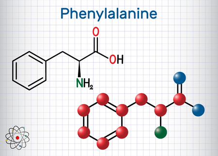 Phenylalanine (lL-phenylalanine, Phe , F) amino acid molecule. Sheet of paper in a cage. Structural chemical formula and molecule model. Vector illustration Vector Illustration