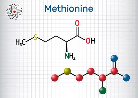 Methionine l- methionine, Met , M essential amino acid molecule. Sheet of paper in a cage. Structural chemical formula and molecule model. Vector illustration 일러스트