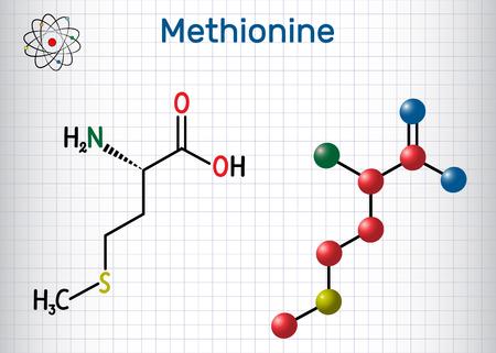 Methionine l- methionine, Met , M essential amino acid molecule. Sheet of paper in a cage. Structural chemical formula and molecule model. Vector illustration Illustration