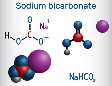 Sodium bicarbonate molecule, known as baking soda. Structural chemical formula and molecule model. Vector illustration