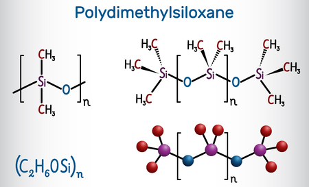 Polydimethylsiloxane, PDMS, silicone polymer, molecule. Structural chemical formula and molecule model. Vector illustration