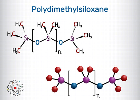 Polydimethylsiloxan, PDMS, Silikonpolymer, Molekül. Strukturelle chemische Formel und Molekülmodell. Blatt Papier in einem Käfig. Vektor-Illustration