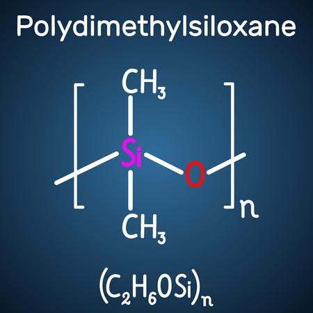 Polydimethylsiloxane, PDMS, silicone polymer, molecule. Structural chemical formula and molecule model on the dark blue background. Vector illustration