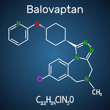 Balovaptan molecule. Is drug for the treatment of autism. Structural chemical formula and molecule model on the dark blue background. Vector illustration