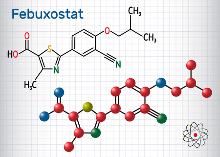 Febuxostat molecule. Structural chemical formula and molecule model. Sheet of paper in a cage. Vector illustration