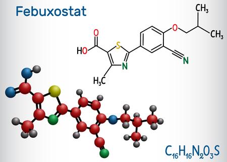 Febuxostat molecule. Structural chemical formula and molecule model. Vector illustration