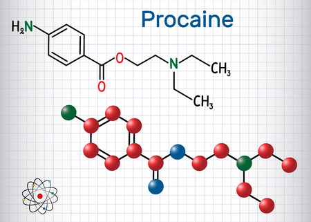 Procaine molecule. Is a local anesthetic drug. Structural chemical formula and molecule model. Sheet of paper in a cage. Vector illustration