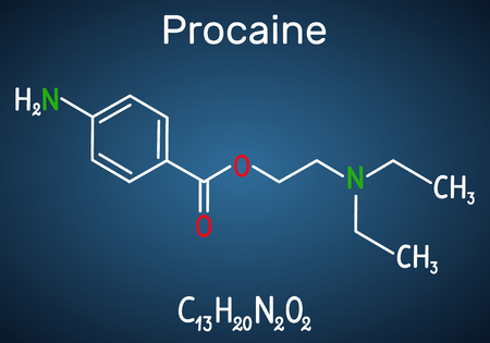 Procaine molecule. Is a local anesthetic drug. Structural chemical formula and molecule model on the dark blue background. Vector illustration