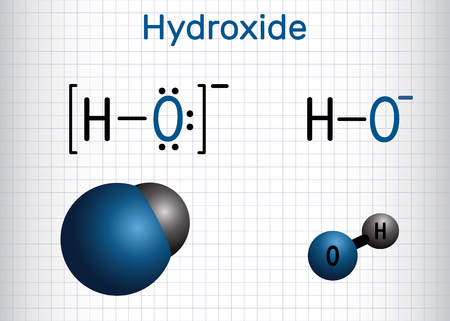 Hydroxide anion. Structural chemical formula and molecule model. Sheet of paper in a cage. Vector illustration 向量圖像