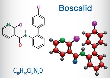 Boscalid molecule. Structural chemical formula and molecule model. Vector illustration Standard-Bild - 122979688