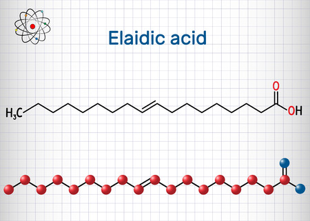 Elaidic acid molecule. Structural chemical formula and molecule model. Sheet of paper in a cage. Vector illustration