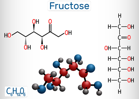 Fructose, D-fructose molecule. Linear form. Structural chemical formula and molecule model. Vector illustration