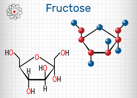 Fructose, alpha-D-fructopyranose molecule. Cyclic form. Structural chemical formula and molecule model. Sheet of paper in a cage.Vector illustration