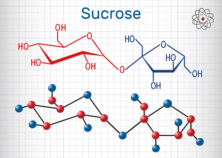 Sucrose sugar molecule. Structural chemical formula and molecule model. Sheet of paper in a cage. Vector illustration Vectores