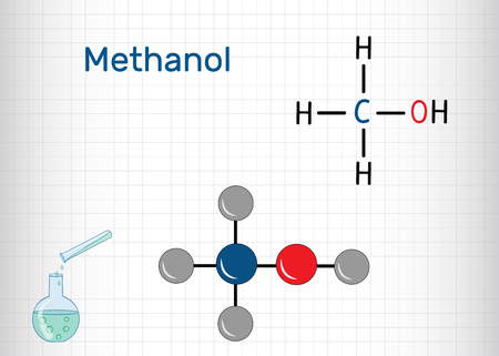 Methanol, methyl alcohol, molecule. Sugar substitute and E951. Structural chemical formula and molecule model. Sheet of paper in a cage.